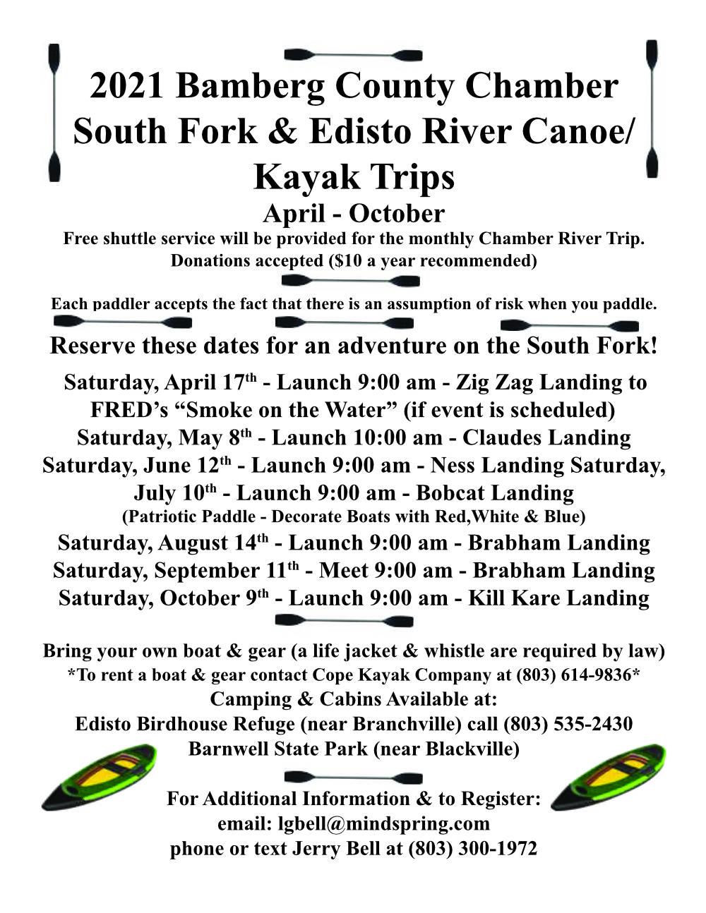 2021 Edisto Fork River Trips beginning April 17
